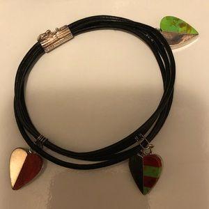 Jay King triple heart stone charm bracelet